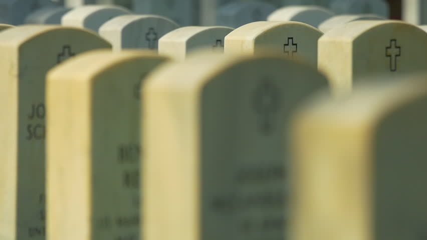 National Cemetery gravestones of patriots, HD stock video clip. Slow motion,