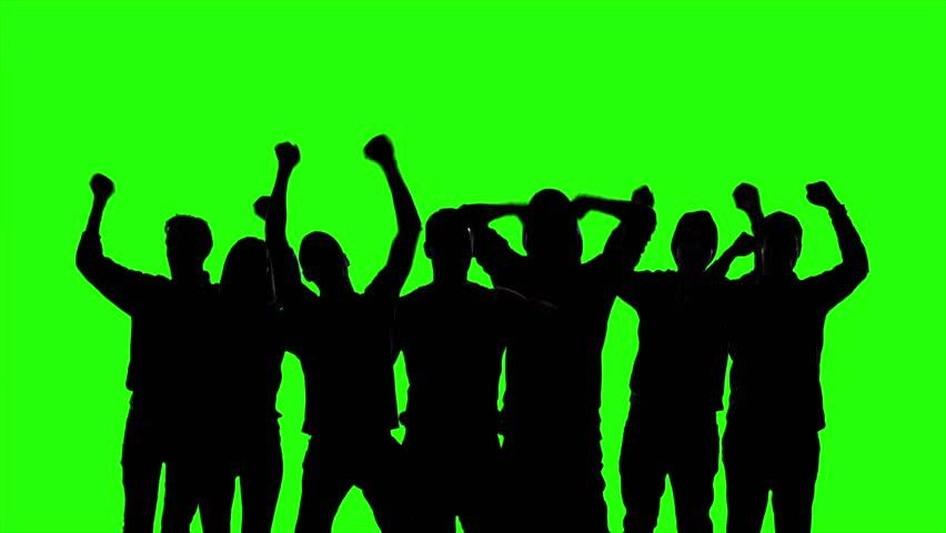 Crowd People on Green Screen