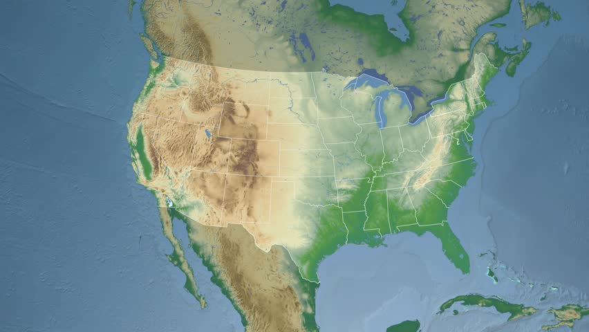 Usa Pennsylvania State Harrisburg Extruded On The Physical Map Of North America In