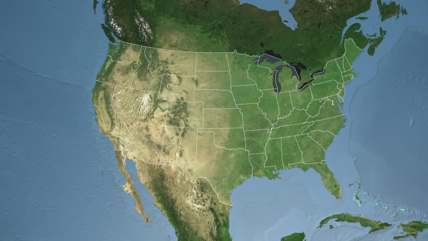 USA New Jersey State Trenton Extruded On The Satellite Map Of - Us map satellite