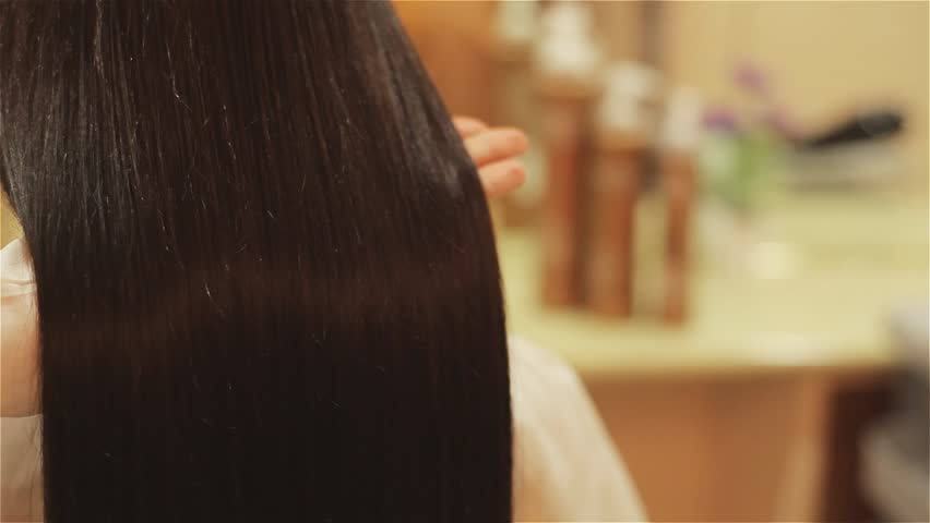 beautiful hair after treatment in a beauty salon - HD stock video clip