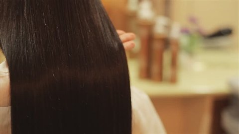 beautiful hair after treatment in a beauty salon