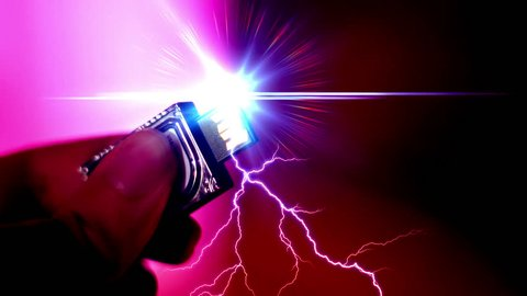 Electric usb lightning powering electricity concept