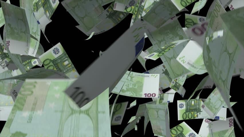 Falling Euro banknotes money Video Effect simulates Falling 100 Euro banknotes money with alpha channel in 4k resolution  | Shutterstock HD Video #8547211