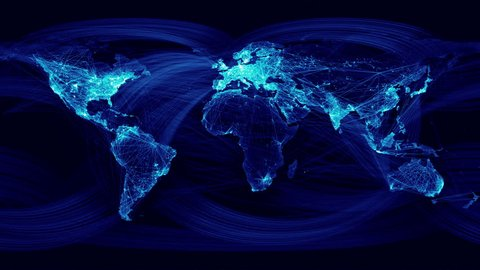Network Lines Lighting Up World Map 4K. Blue Version. Very detailed. Can be used as a high resolution texture or projection map.