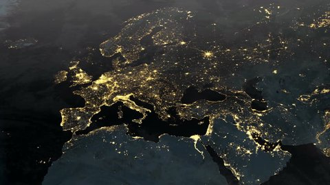 Planet earth animation of Europe at night (1080p HD)