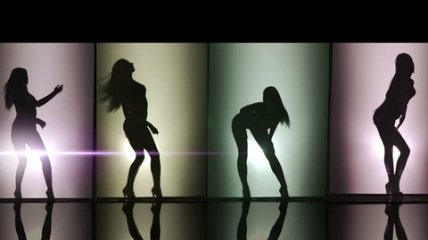 A silhouette of beautiful girls woman dancing combination. Against colored & gray background.