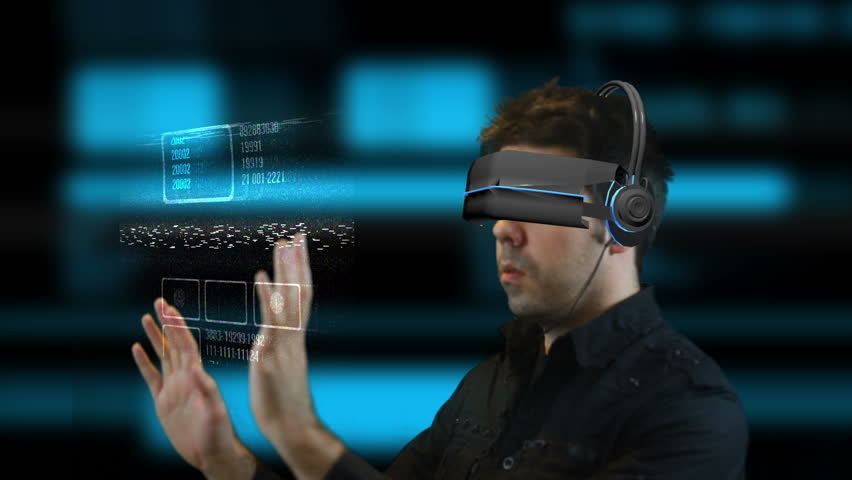 Virtual reality headset, matrix or VR system | Shutterstock HD Video #8636821