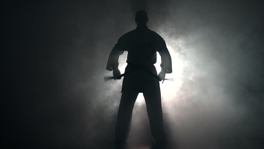 Young man with muscled body, training martial arts (Goju-Ryu Karate-Do) in silhouette