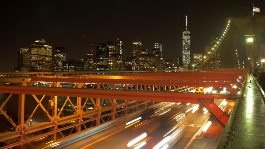 Time lapse of city traffic at night. illuminated urban streets lights. new york cityscape scene  | Shutterstock HD Video #8649781