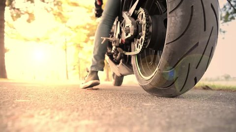 sport motorbike riding on the street. floor view