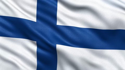Realistic Ultra-HD flag of Finland waving in the wind. Seamless loop with highly detailed fabric texture. Loop ready in 4K resolution.