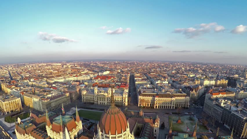 Camera flying above Hungarian parliament in Budapest | Shutterstock HD Video #8699311