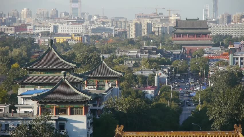 Panoramic of China ancient tower architecture & urban high rise building.Beijing Forbidden City,DiAnMen. gh2_03841
