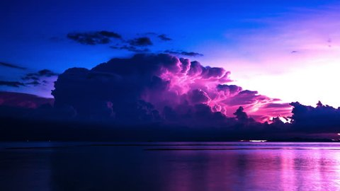 4K TimeLapse - 20 August 2014, Coming storm at sea with thunderstorm, Samui island, Thailand