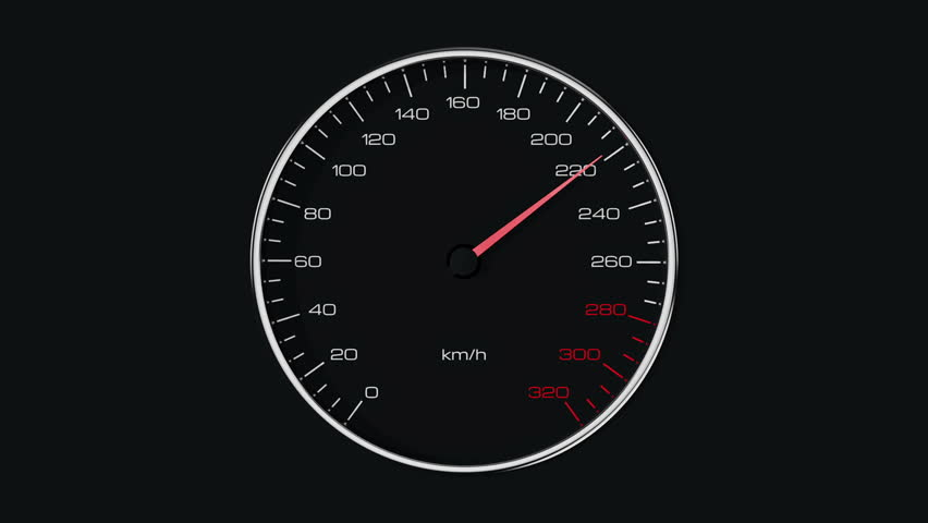 Car speedometer and moving pointer. Seamless loop.