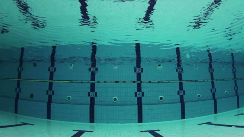 Empty Olympic Swimming Pool Underwater With Horizontal Swimming Lines   HD  Stock Video Clip