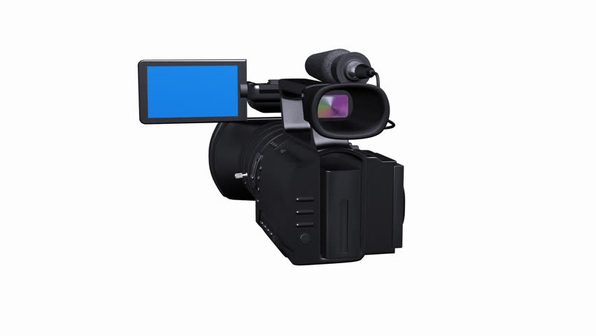 3d render of professional video camera rotating on a white background and walking to  blue screen