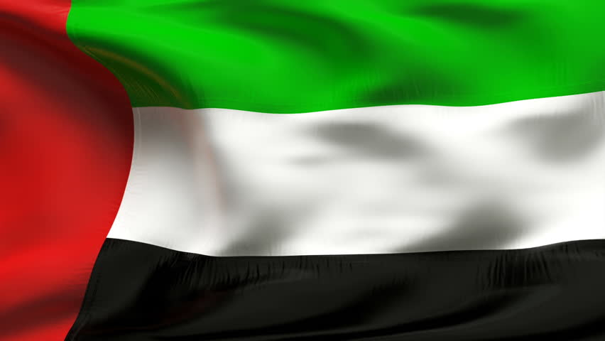 Creased United Arab emirates cotton flag with visible stitch and seams in slow motion