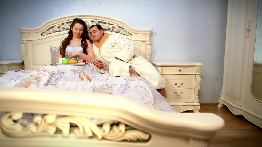 Hy Young Eat Breakfast In Bed Morning With Red Rose Hd Stock Video