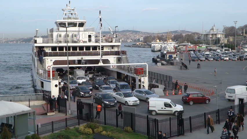 Eminonu, Istanbul; A Domestic Car Ferry Boat Are Landed ...