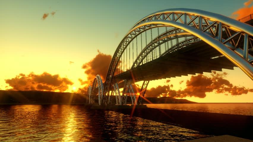 Modern bridge architecture. epic sunset dusk. panorama landscape.   Shutterstock HD Video #8848261