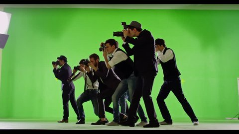 4K FEW SHOTS! Group of paparazzi. Photo shoot on green screen. Slow motion. Shot on RED EPIC Cinema Camera.