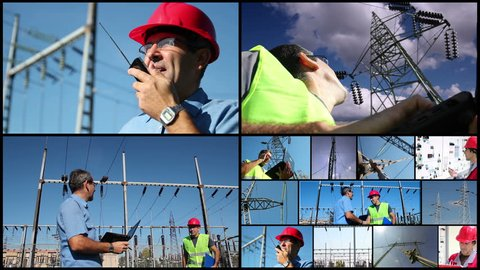 Electric Power Delivery System. Montage of clips showing electricity distribution equipment and electric company workers at work.