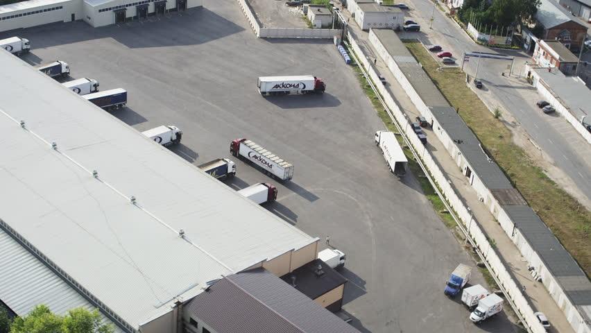 Aerial shot trucks at loading