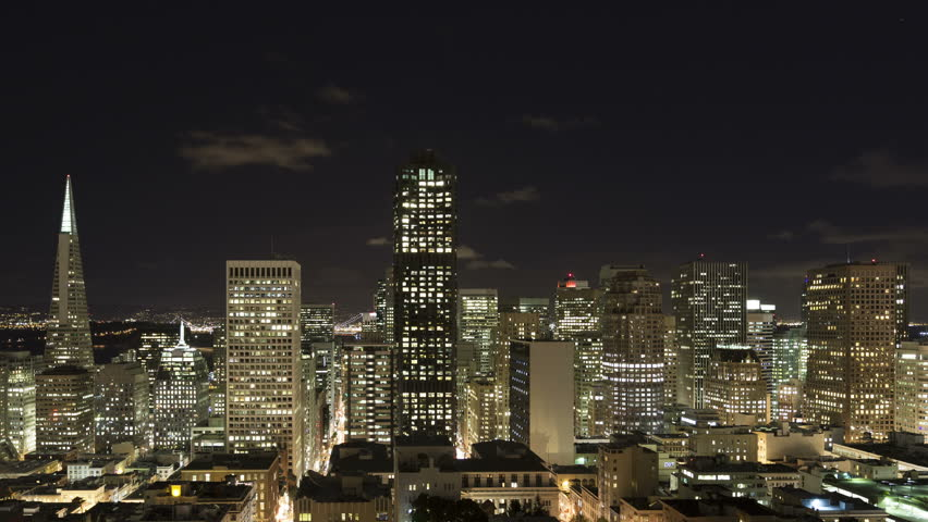 4K Time lapse close up of downtown San Francisco skyline at nighttime