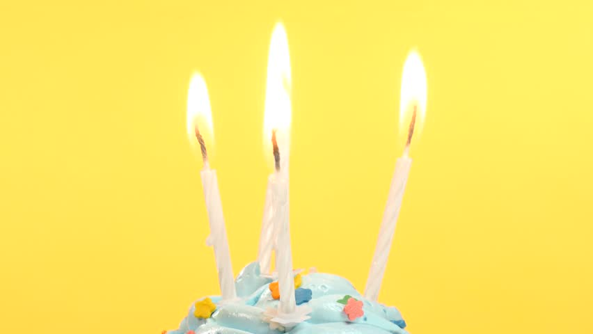Tasty Birthday Cupcake With One Candle On Yellow Background