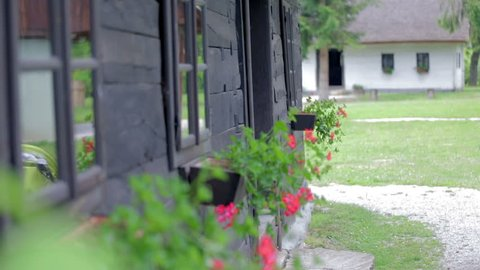 Historic wooden village house with red flowers . On this footage is a vintage wooden village house with beautiful red flowers on windowsills in the beautiful nature in background.