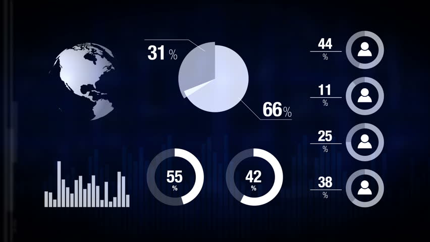Various Animated Infographics Charts as HUD head-up display, Technology, Science, Data Analysis, Business, Finance or Economy illustrative background. 1920x1080 full hd footage.