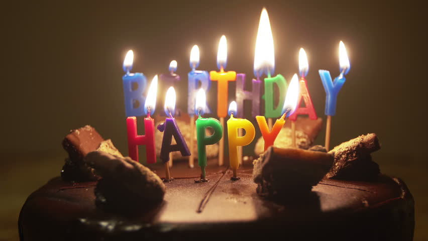 Stock Video Clip of Happy Birthday Candles on Birthday Cake With