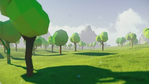 Low polygonal mountain valley view. With small hunting house. Best for intro. Looped. Cartoon landscape.