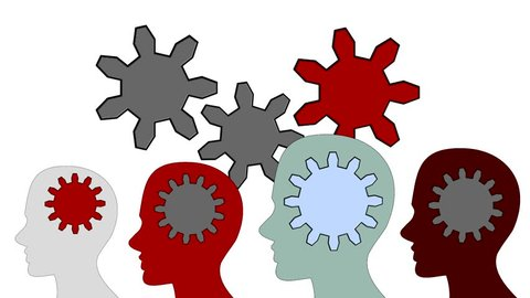Gears rotate inside the brain power of teamwork on white background, animation, cartoon