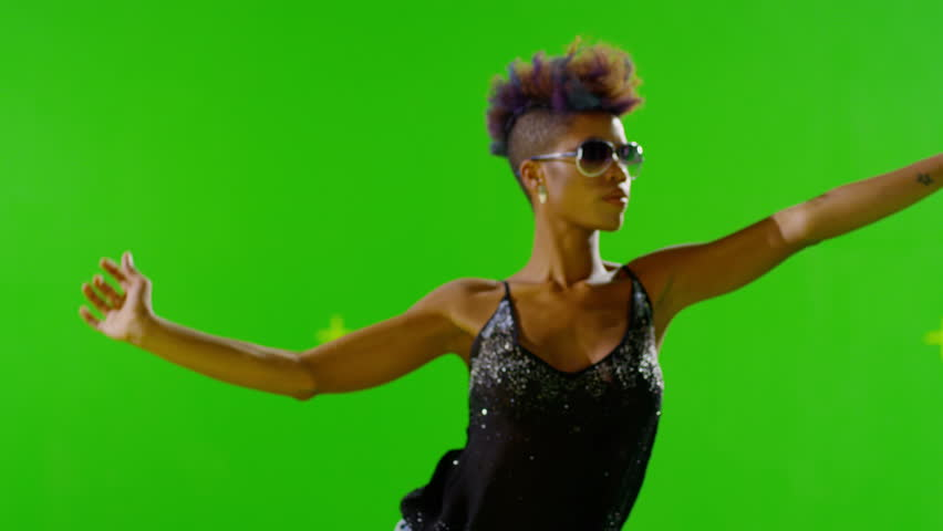 FEW SHOTS! 4K African Stylish Girl Dancing On Green Screen. Real Strobe Light On Body. Slow Motion. Few shots.