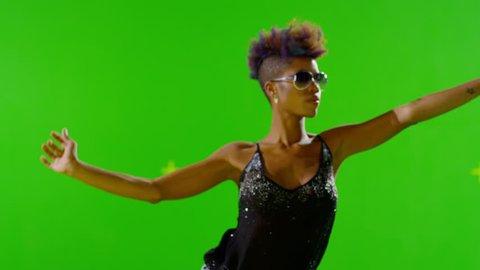 FEW SHOTS! 4K African Stylish Girl Dancing On Green Screen. Real Strobe Light On Body. Slow Motion. Few shots.