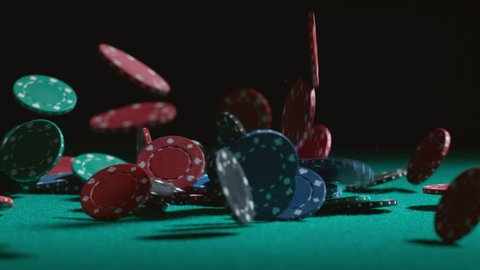 Poker chips falling in slow motion; shot on Phantom Flex 4K at 1000 fps
