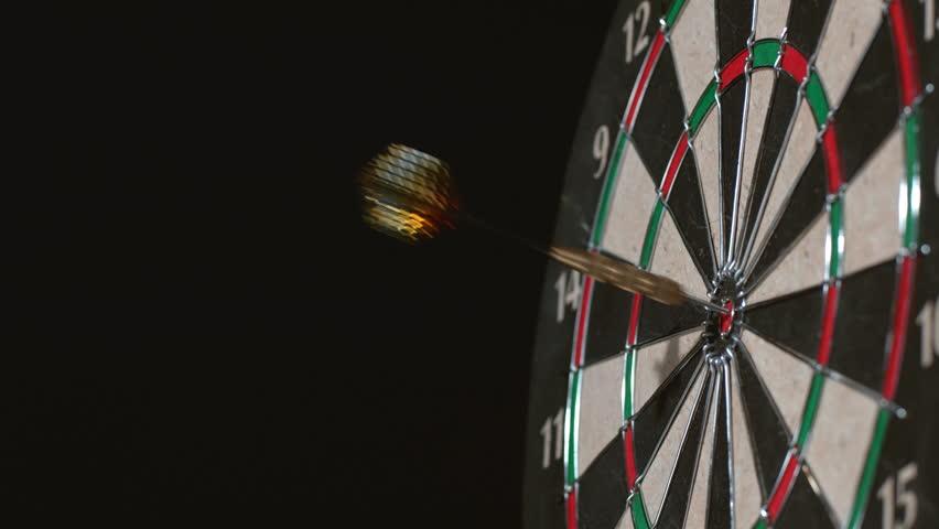 Dart hits bullseye in slow motion; shot on Phantom Flex 4K at 1000 fps
