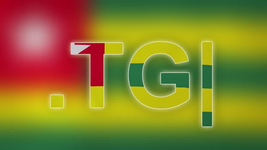 """TG - internet domain of Togo. Typing top-level domain """".TG"""" against blurred waving national flag of Togo. Highly detailed fabric texture for 4K resolution. Source: CGI rendering. Clip ID: ax1046c"""