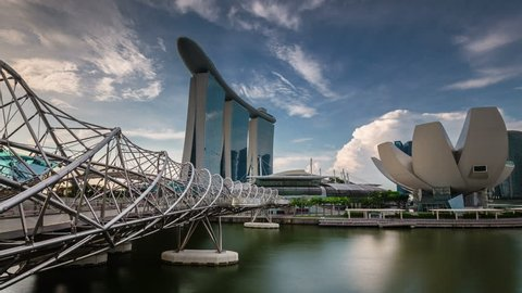 singapore - october 2014: sunny sky famous hotel and art museum round panorama 4k time lapse, singapore.