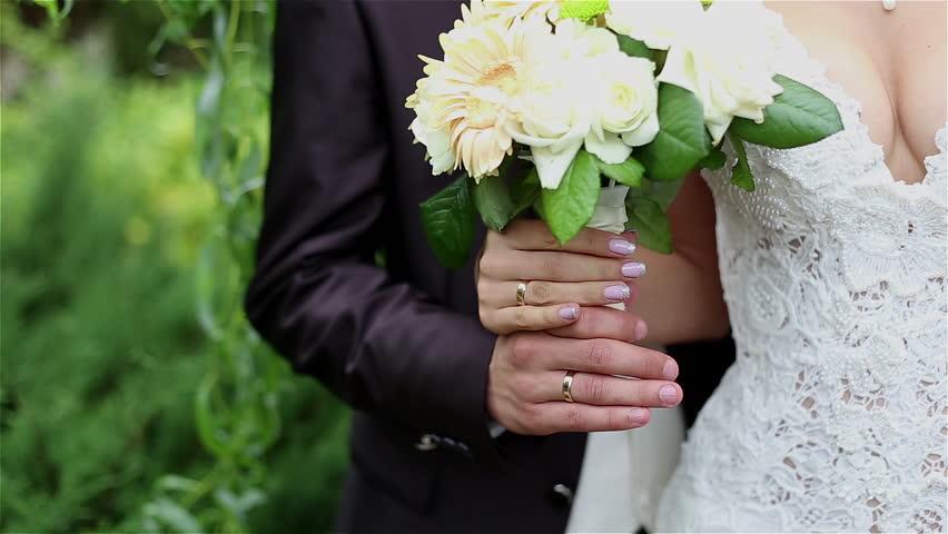 Wedding couple and wedding bouquet  | Shutterstock HD Video #9034192