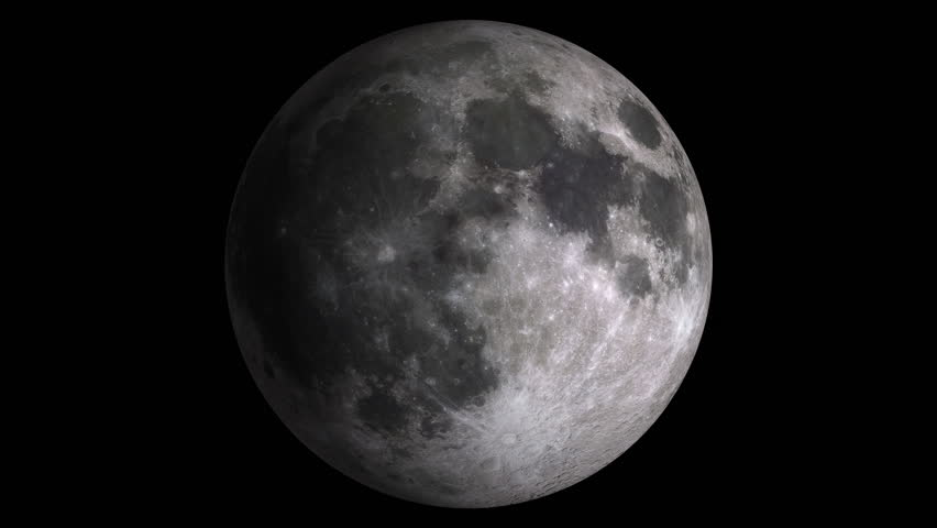 W/Alpha: Moon Phases / Moon Surface / Lunar Surface. Moon phases with visible shaded areas. Realistic libration. Isolated on black background. Includes alpha-matte. (av10783c)