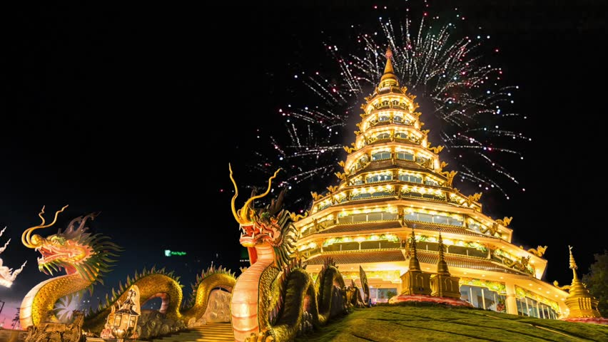 4K. Temple wat hyua pla kang and fireworks (Chinese temple) Chiang Rai, Asia Thailand, They are public domain or treasure of Buddhism, no restrict in copy or use, 1920x1080