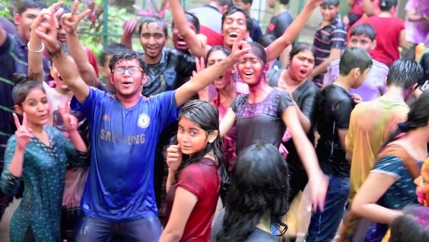 MUMBAI, MAHARASHTRA, INDIA - March 6, 2015: people playing Holi festival | Shutterstock HD Video #9096881