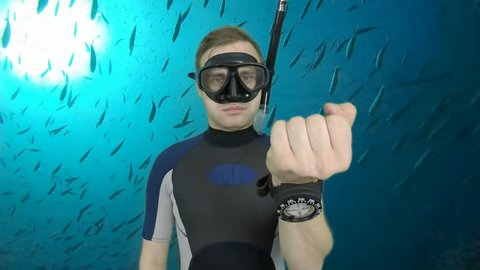 Diving sign- divemaster  shows sing  ASK QUASTIONS  ,also a available on the green screen all of diving sings from course (open water diver)  9   of 11