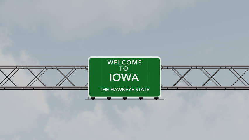 4K Passing under Welcome to Iowa State USA Interstate Highway Sign with Matte Photo Realistic 3D Animation 4K 4096x2304 ultra high definition
