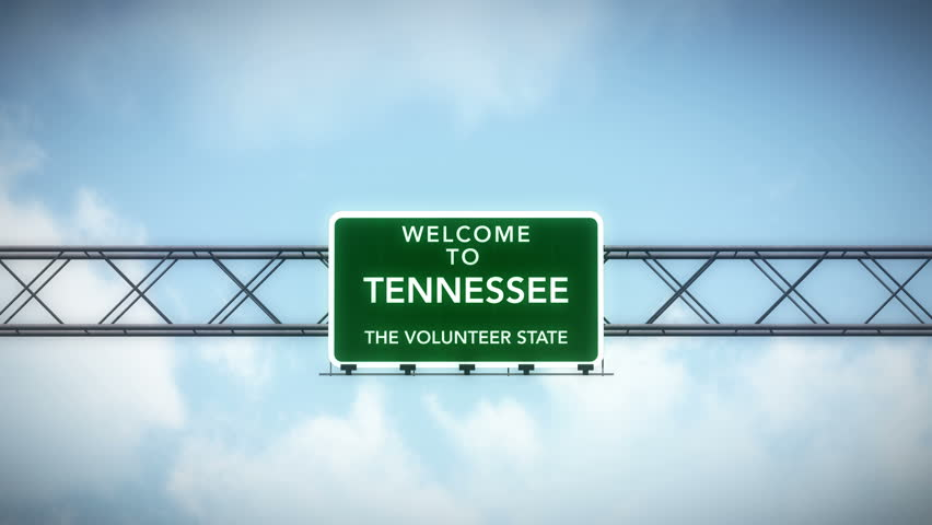 4K Passing under Welcome to Tennessee State Border USA Interstate Highway Sign at Night with Matte Photorealistic 3D Animation 4K 4096x2304 ultra high definition