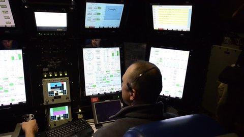 CIRCA 2010s - Activities on board an American nuclear submarine.